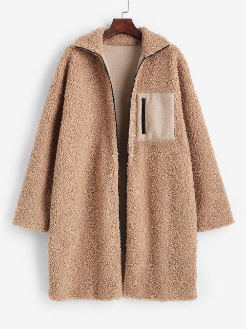 ZAFUL Drop Shoulder Pocket Teddy Coat - القهوة الخفيفة S Mobile