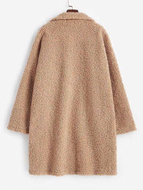 ZAFUL Drop Shoulder Pocket Teddy Coat - القهوة الخفيفة L Mobile