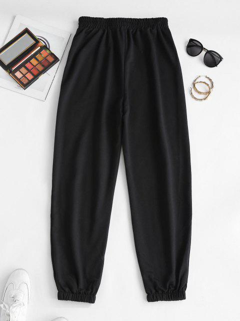 women ZAFUL Stay Wild Leopard Print High Waisted Pants - BLACK XL Mobile