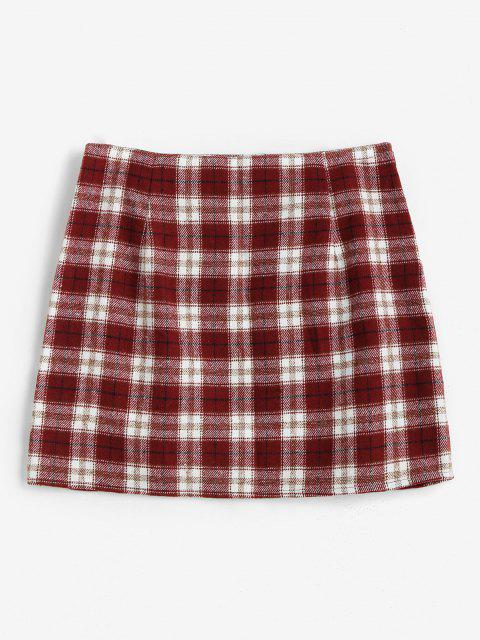 sale ZAFUL Plaid M Slit Mini Skirt - RED M Mobile