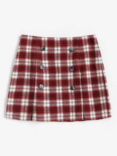 hot ZAFUL Plaid M Slit Mini Skirt - RED L Mobile
