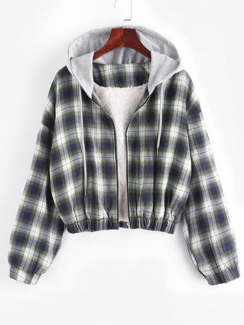 hot Hooded Faux Shearling Lined Plaid Jacket - MULTI S Mobile