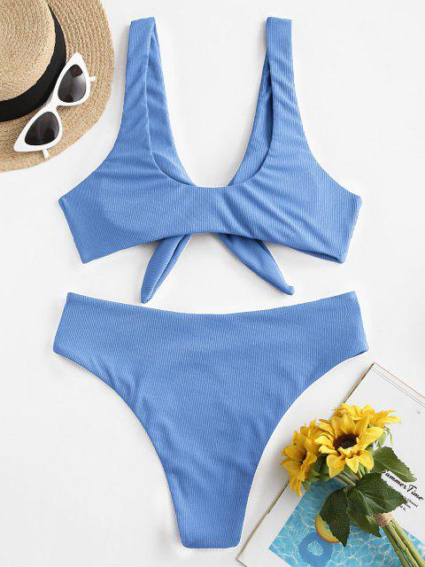 outfits ZAFUL Tie Front Ribbed Bikini Swimsuit - LIGHT BLUE M Mobile