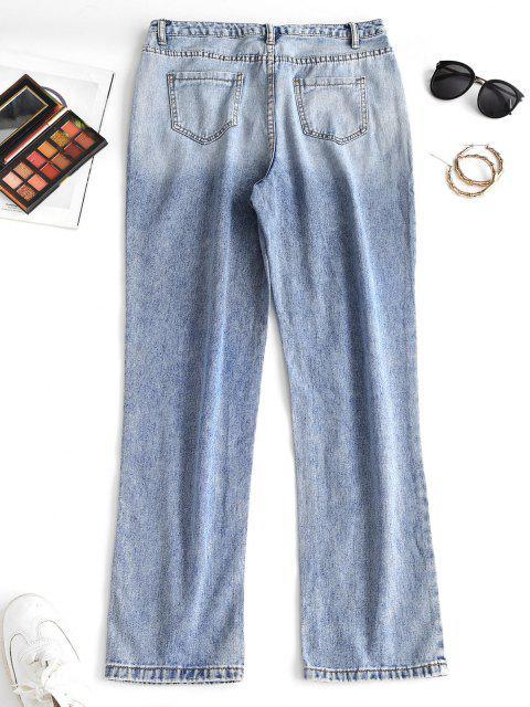 Pantalón Recto Cintura Alta y Bolsillo - Azul M Mobile