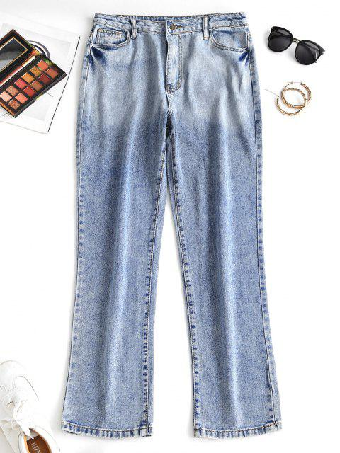 women Distressed Pocket Dip Dye High Waisted Straight Jeans - BLUE S Mobile