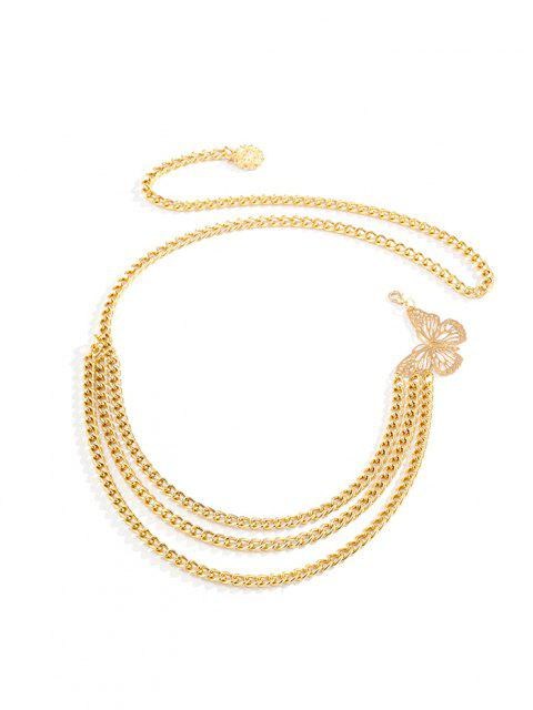 buy Hollow Butterfly Layered Waist Chain - GOLDEN  Mobile