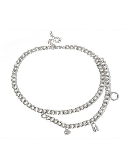womens Lock Pendant Layers Waist Chain - SILVER  Mobile