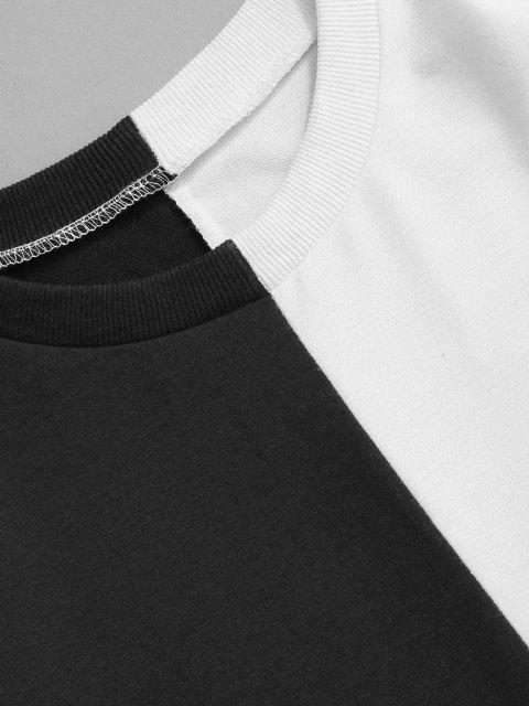 online Two Tone Sweatshirt And Pants Two Piece Set - BLACK M Mobile