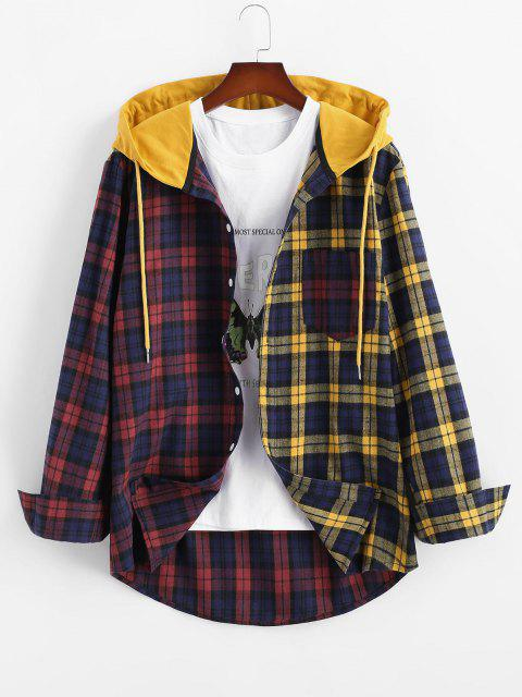 affordable Colorblock Plaid Hooded Shirt Jacket - YELLOW L Mobile