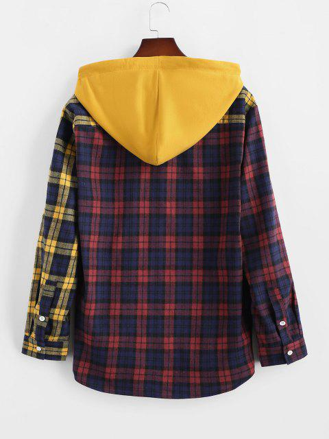 outfits Colorblock Plaid Hooded Shirt Jacket - YELLOW S Mobile