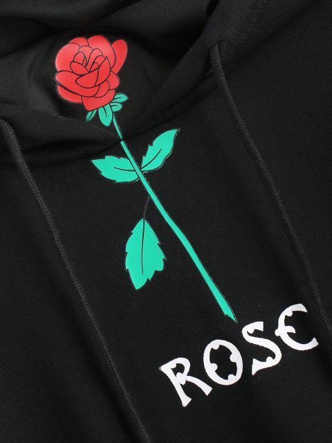 Rose Flower Hoodie mit Nackengaiter - Schwarz S Mobile