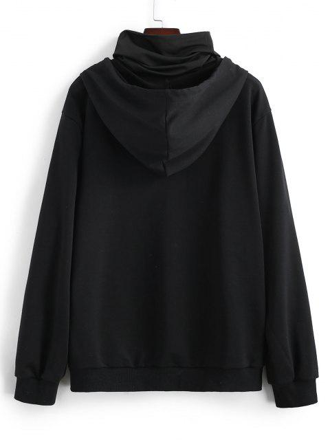 hot Rose Flower Hoodie With Neck Gaiter - BLACK M Mobile