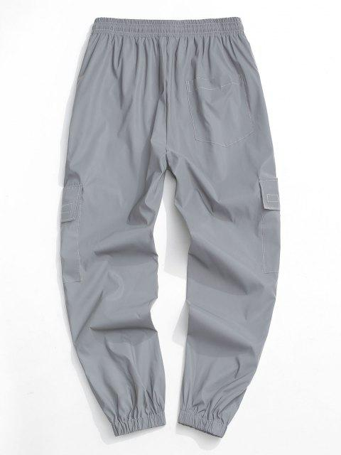 shops Reflective Patch Cargo Pants - GRAY XL Mobile
