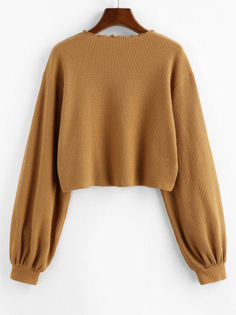 online ZAFUL Ribbed Knit Drop Shoulder Short Tee - CAMEL BROWN M Mobile