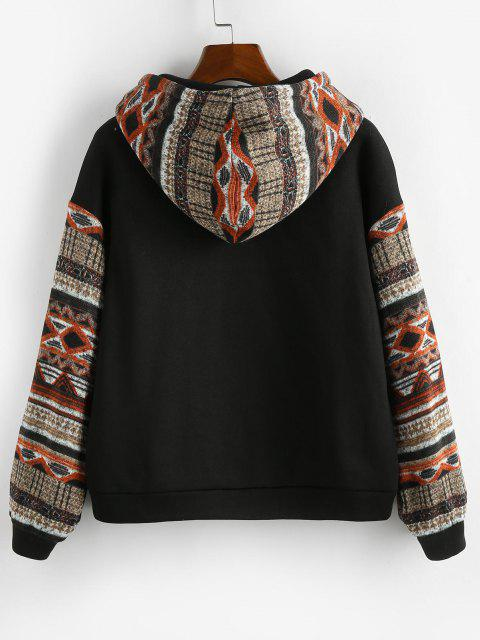 unique ZAFUL Ethnic Seamless Pattern Drop Shoulder Fleece Lined Hoodie - BLACK L Mobile