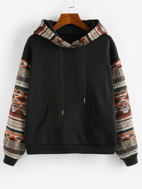 fashion ZAFUL Ethnic Seamless Pattern Drop Shoulder Fleece Lined Hoodie - BLACK S Mobile