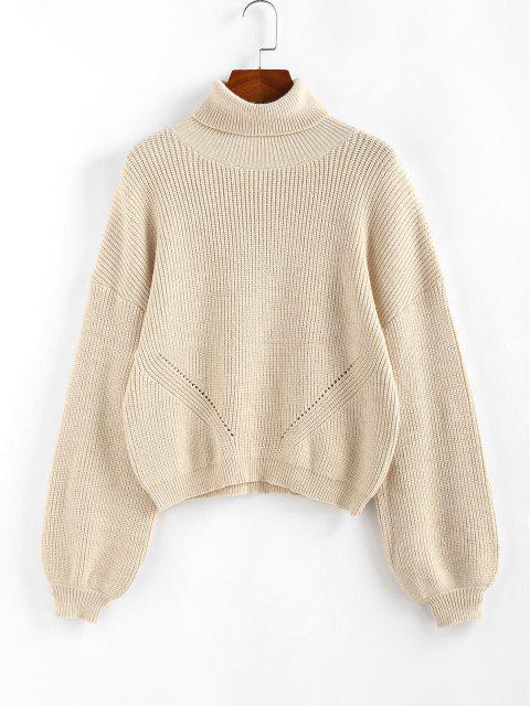 women ZAFUL Lantern Sleeve Turtleneck Sweater - LIGHT YELLOW M Mobile