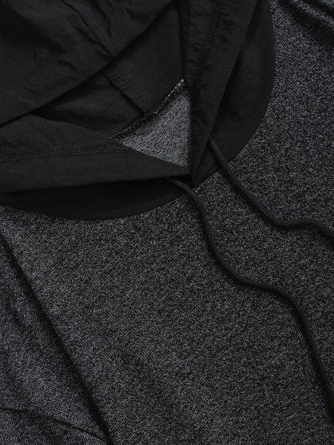 Sudadera con Capucha Estampado Letra Bolsillo Delantero - Negro S Mobile
