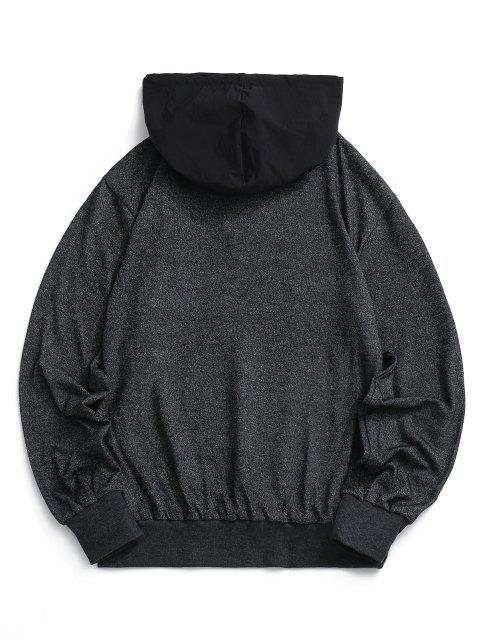 latest Letter Print Front Pocket Heathered Hoodie - BLACK M Mobile