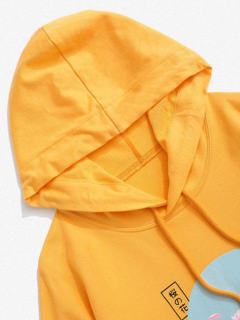online Sakura Letter Graphic Streetwear Hoodie - YELLOW M Mobile