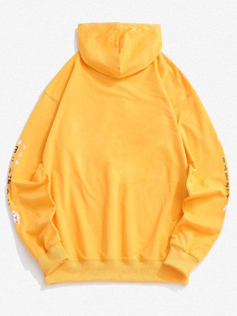 online Sakura Letter Graphic Streetwear Hoodie - YELLOW 2XL Mobile