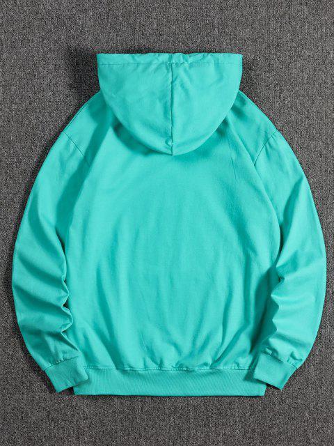 Sweat à Capuche Loup Effrayant Imprimé avec Poche Kangourou en Laine - Turquoise Moyenne  S Mobile