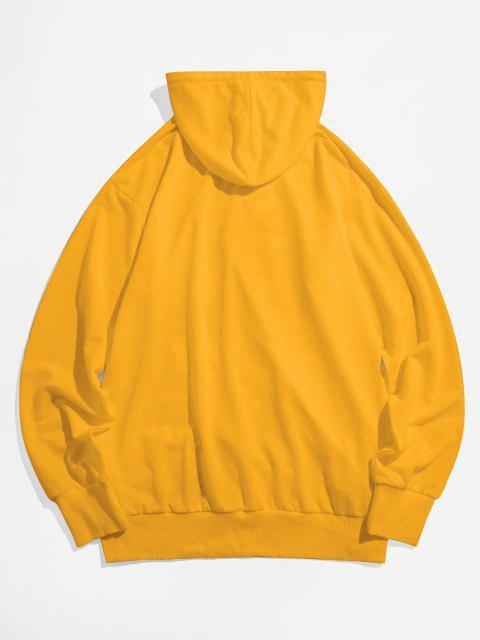 fashion ZAFUL Banana Print Kangaroo Pocket Funny Hoodie - YELLOW XL Mobile
