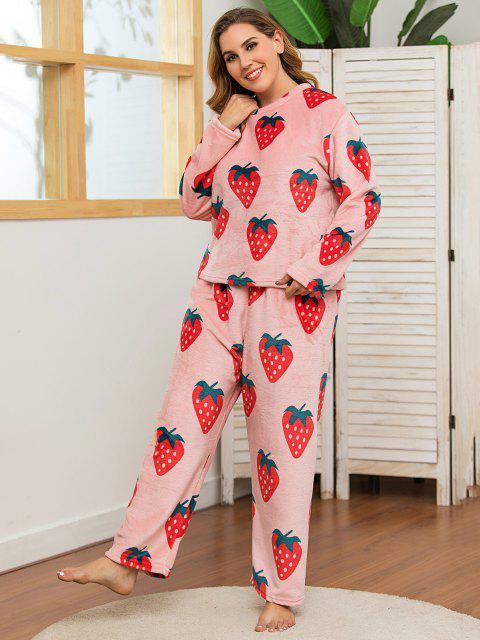 trendy Plus Size Strawberry Print Fluffy Pyjamas - LIGHT PINK 5XL Mobile