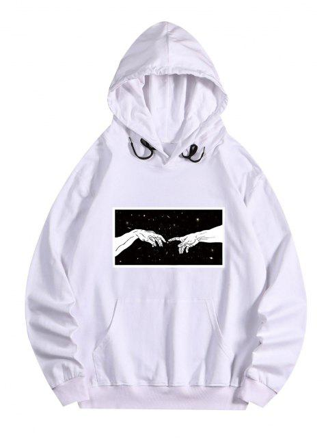 sale Galaxy Hands Print Front Pocket Fleece Hoodie - WHITE M Mobile