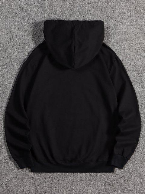 affordable Galaxy Hands Print Front Pocket Fleece Hoodie - BLACK M Mobile