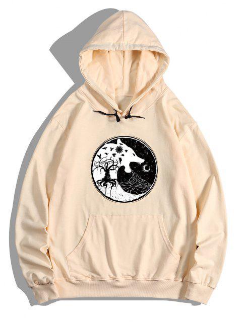 sale Tree Wolf Print Front Pocket Fleece Hoodie - PEACH L Mobile
