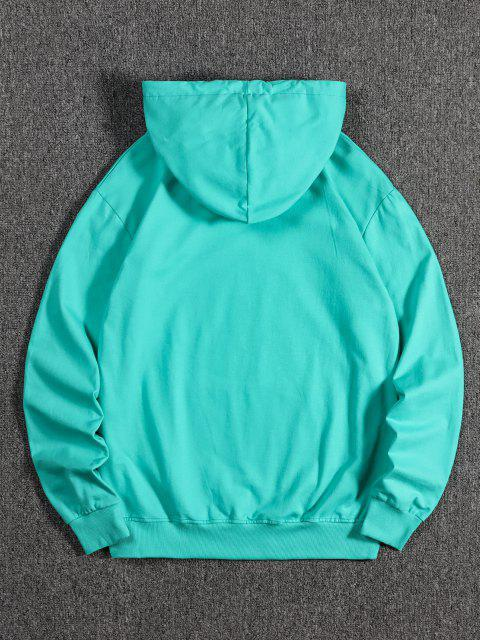 best Tree Wolf Print Front Pocket Fleece Hoodie - MEDIUM TURQUOISE L Mobile