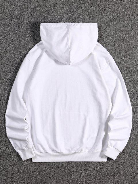 outfits Tree Wolf Print Front Pocket Fleece Hoodie - WHITE M Mobile