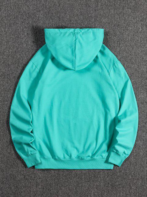 Kangaroo Pocket Dragon Print Fleece Hoodie - متوسطة الفيروز XL Mobile