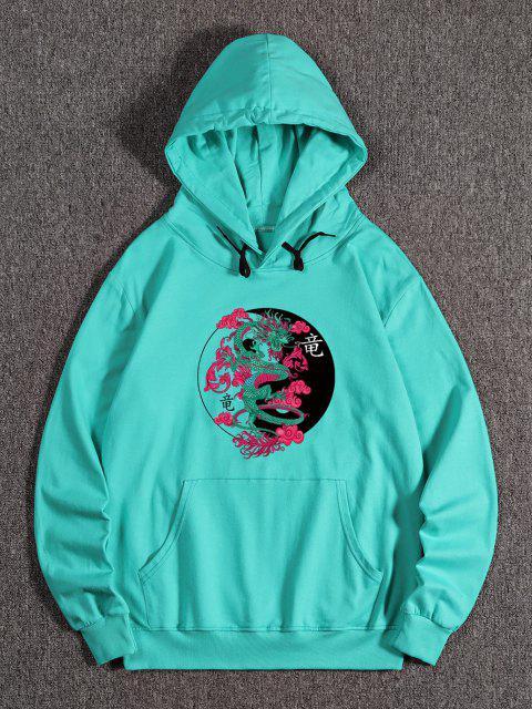 Sweat à Capuche Dragon Imprimé avec Poche Kangourou en Toison - Turquoise Moyenne  L Mobile