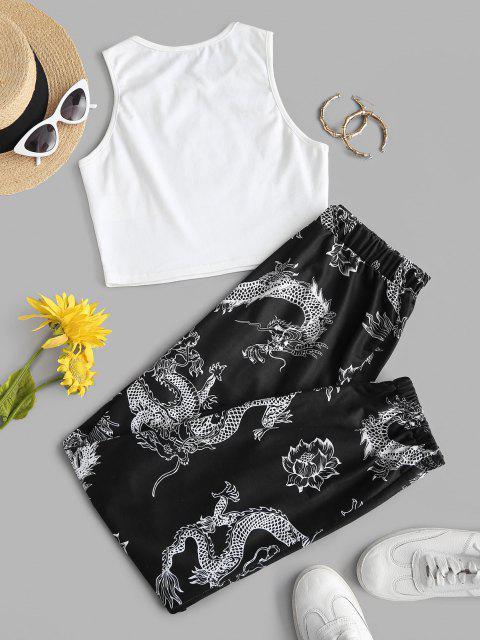 buy ZAFUL Dragon Print Oriental Racerback Egirl Two Piece Pants Set - MULTI XL Mobile