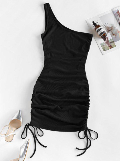 ZAFUL Vestido Ajustado de Un Hombro Acanalado - Negro S Mobile