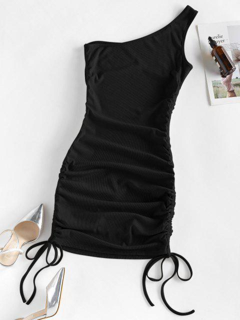 women ZAFUL Ribbed Cinched One Shoulder Bodycon Dress - BLACK S Mobile