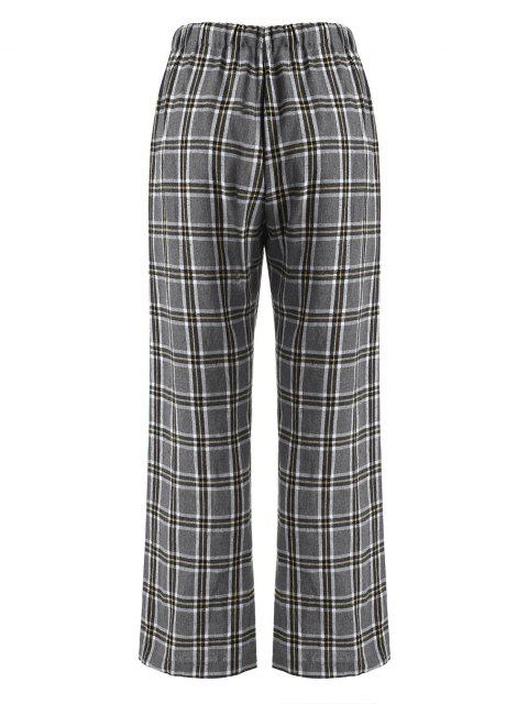 chic ZAFUL Drawstring Plaid Flannel Straight Pants - LIGHT GRAY M Mobile