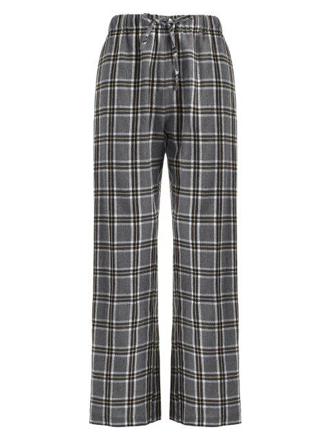 outfits ZAFUL Drawstring Plaid Flannel Straight Pants - LIGHT GRAY XL Mobile