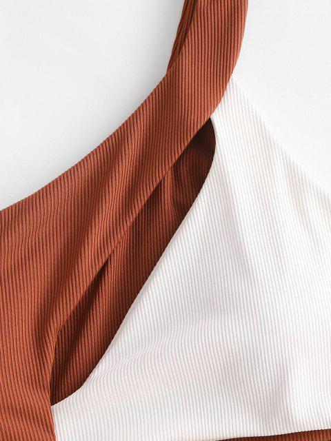 ZAFUL Gerippter Zweifärbiges Ausschnitt Einziger Schulter Badebekleidung - Kaffee S Mobile