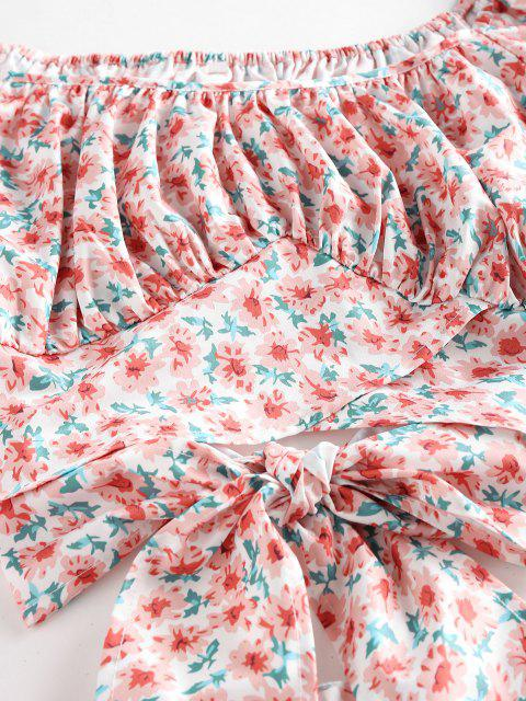 ZAFUL Conjunto de Falda con Volantes con Manga de Soplo de Flores - Rosa claro XL Mobile