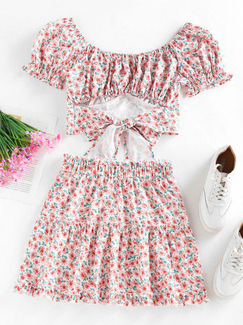 hot ZAFUL Flower Puff Sleeve Ruffle Tiered Skirt Set - LIGHT PINK M Mobile