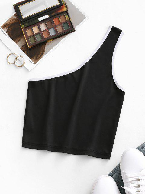 sale Contrast Binding One Shoulder Crop Tank Top - BLACK S Mobile