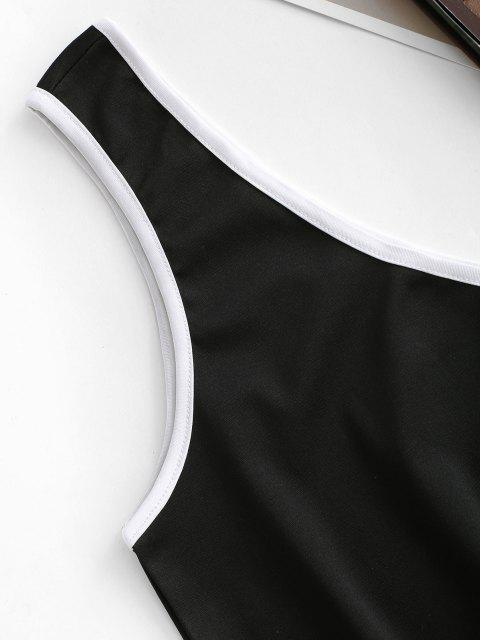 best Contrast Binding One Shoulder Crop Tank Top - BLACK L Mobile