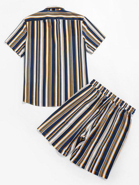 ZAFULストライプポケットシャツとショーツセット - 藍色 S Mobile