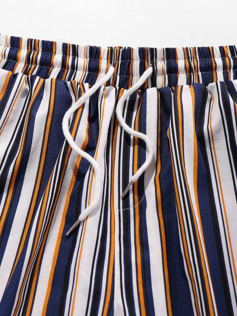new ZAFUL Striped Print Pocket Shirt and Shorts Set - DEEP BLUE M Mobile