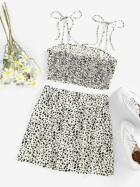 outfits ZAFUL Leopard Smocked M Slit Tie Shoulder Mini Skirt Set - WHITE S Mobile