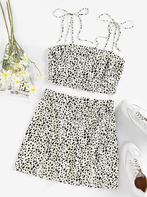 sale ZAFUL Leopard Smocked M Slit Tie Shoulder Mini Skirt Set - WHITE M Mobile