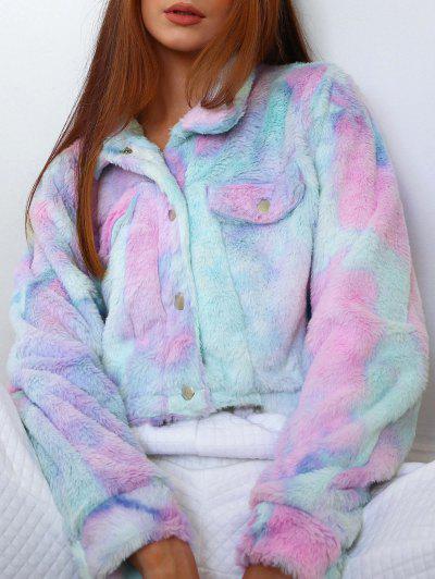 ZAFUL Tie Dye Faux Fur Crop Jacket - Multi-a S
